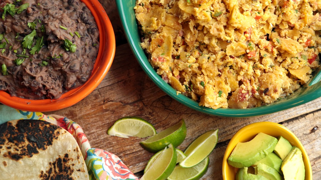 Breakfast Migas with Black Refried Beans