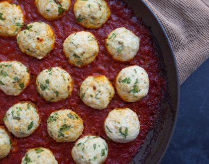 One-Skillet, Cheese-Stuffed Roasted Chicken Meatballs