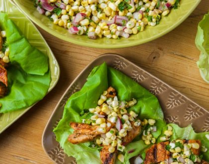 BBQ Chicken and Corn Salad Lettuce Wraps