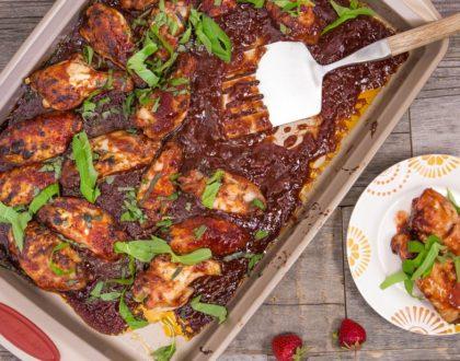 Strawberry Balsamic BBQ Sauce Glazed Chicken Wings