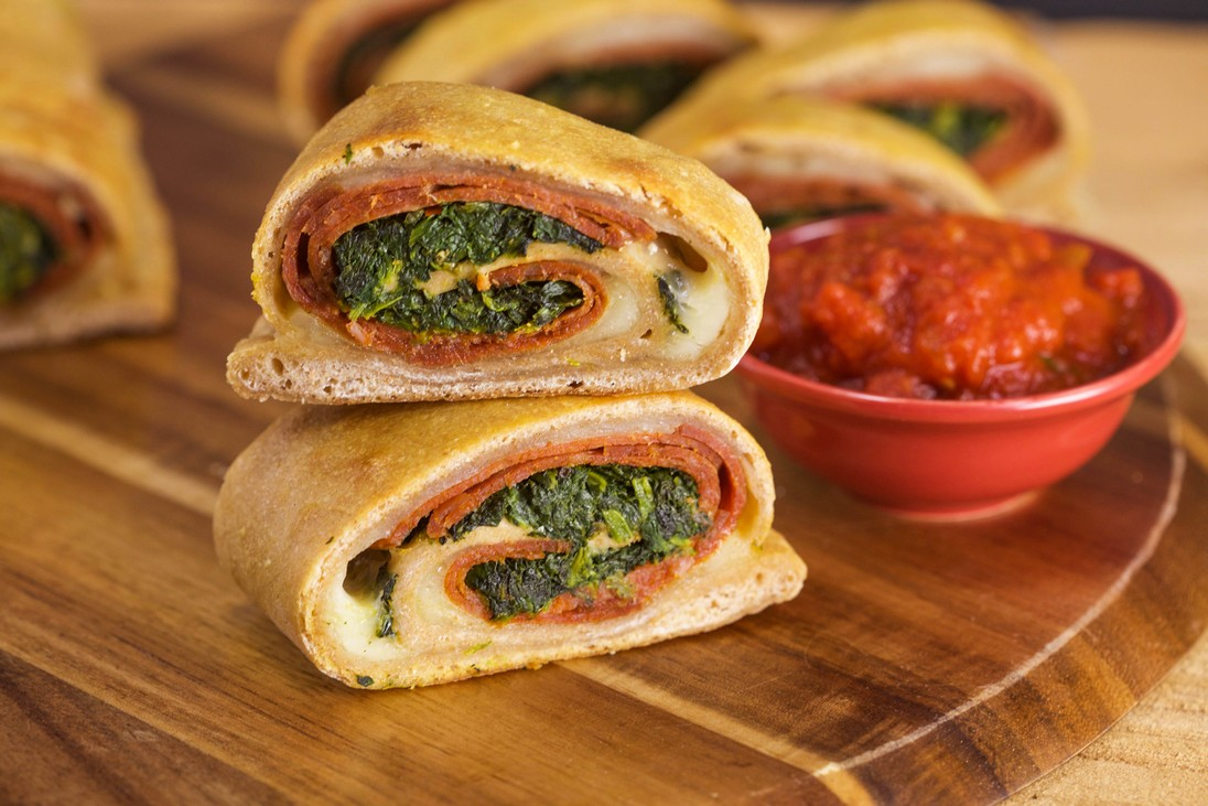 Pepperoni and Spinach Stromboli