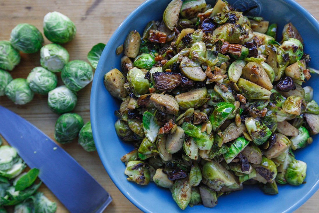 Warm Brussels Sprouts Salad with Maple Vinaigrette