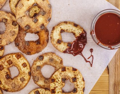 Donut Churros with Spicy Chocolate-Orange Sauce